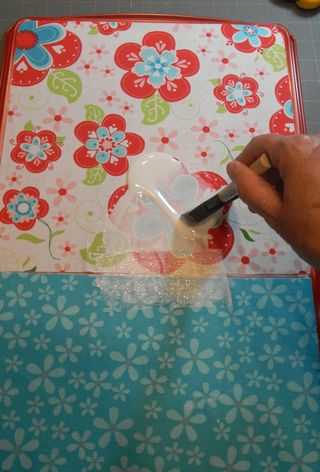 59 Spread mod podge over fabric