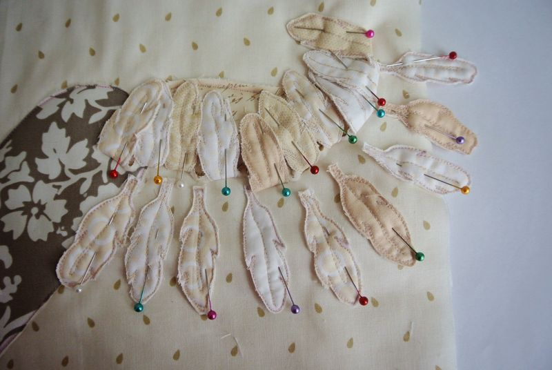 Second row of feathers sewing